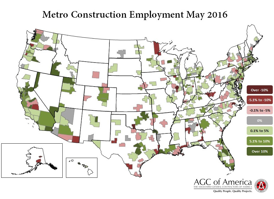 Metro Construction Employment May 2016