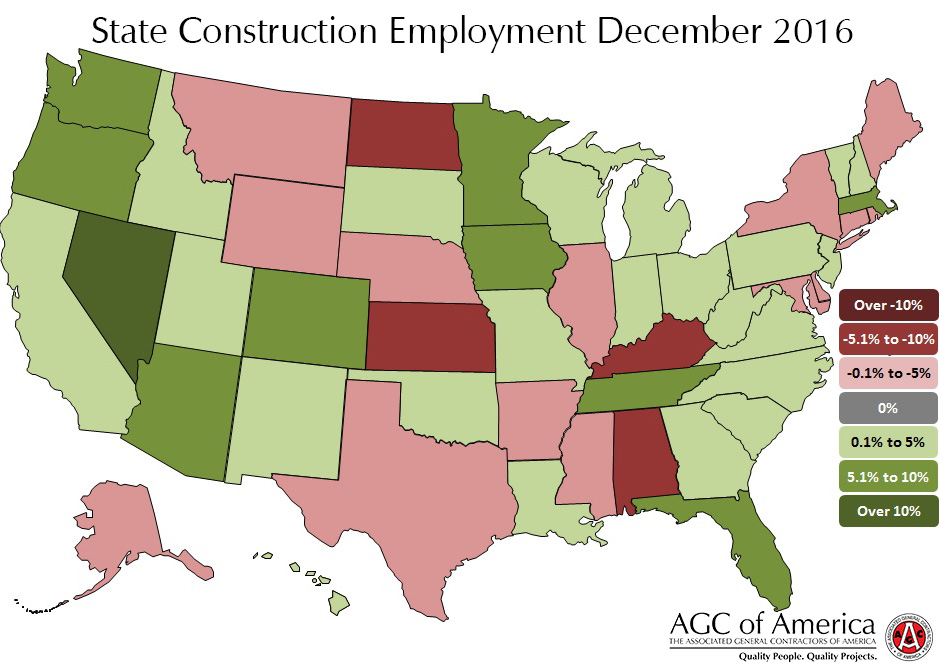 December 2016 State Construction Employment